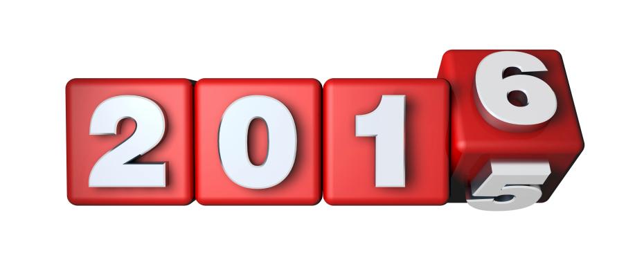 Overgang van 2015 naar 2016 op vier rode dobbelstenen