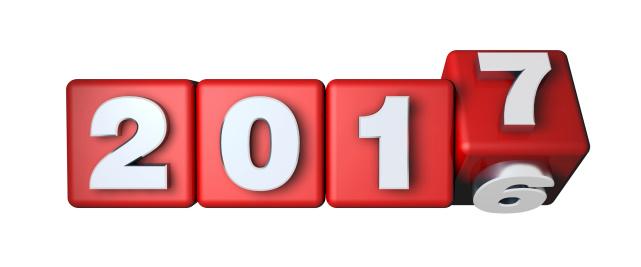 Jaarovergang 2016 naar 2017 op vier rode dobbelstenen